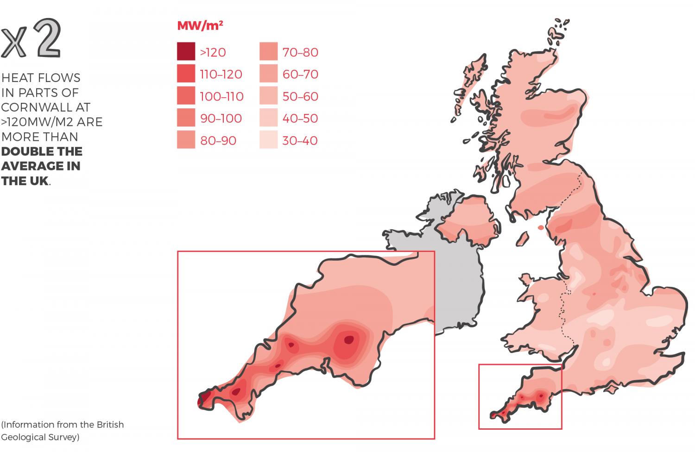 Heat flow map of Cornwall